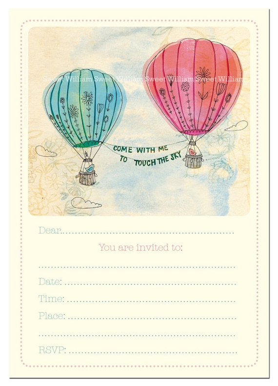 Party Invitation instant printable download fill in invitation Hot Air balloons Girls baby shower tea party