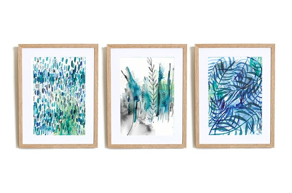 Set of 3 Nature In Blue Wall Art Prints abstract illustration in blue ink