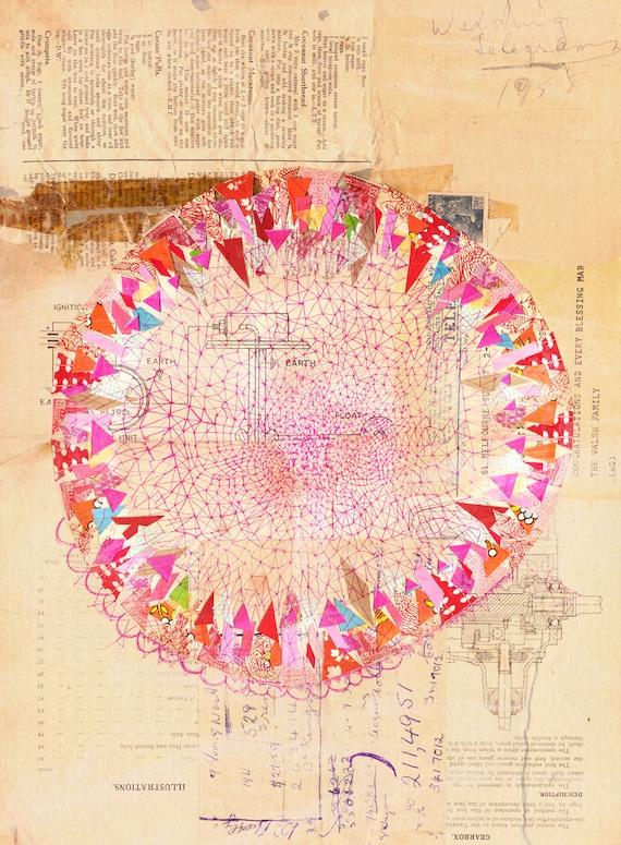 Circle Collage Wall art print abstract illustration