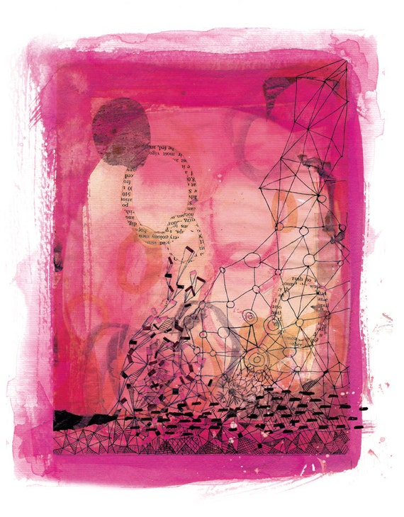 SALE Pink Collage Unframed Archival Giclee Wall Art Print abstract watercolour
