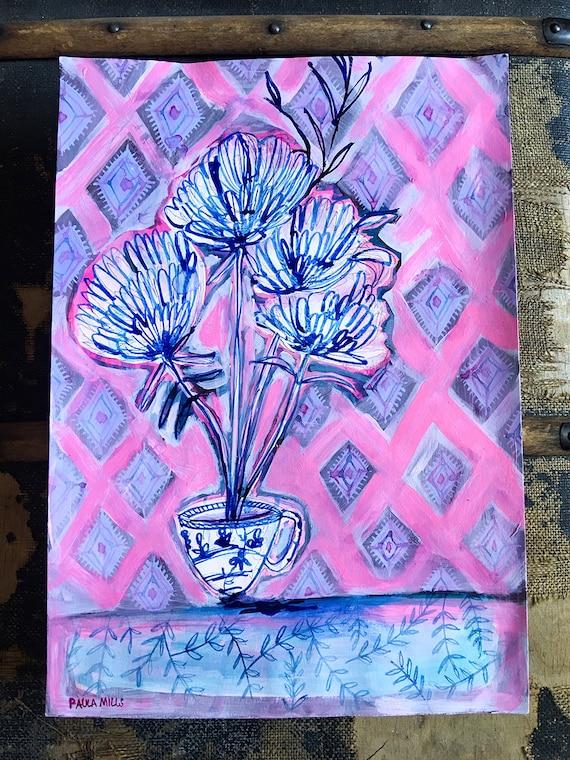 Original acrylic painting on paper Calming Tea artwork by Paula Mills