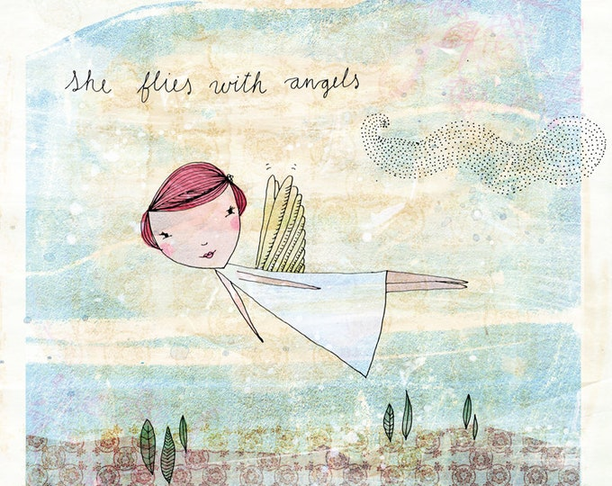 She Flies With Angels instant digital download Wall Art Print kids decor print at home