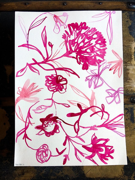 Original watercolor and ink painting on paper Floral Drawing No.1 artwork by Paula Mills