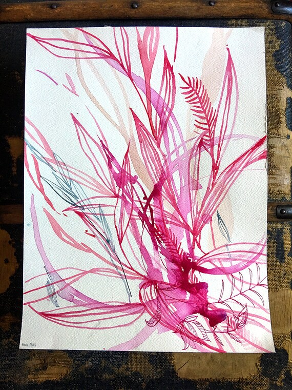 Original watercolor and ink painting on paper Floral Drawing No.2 artwork by Paula Mills