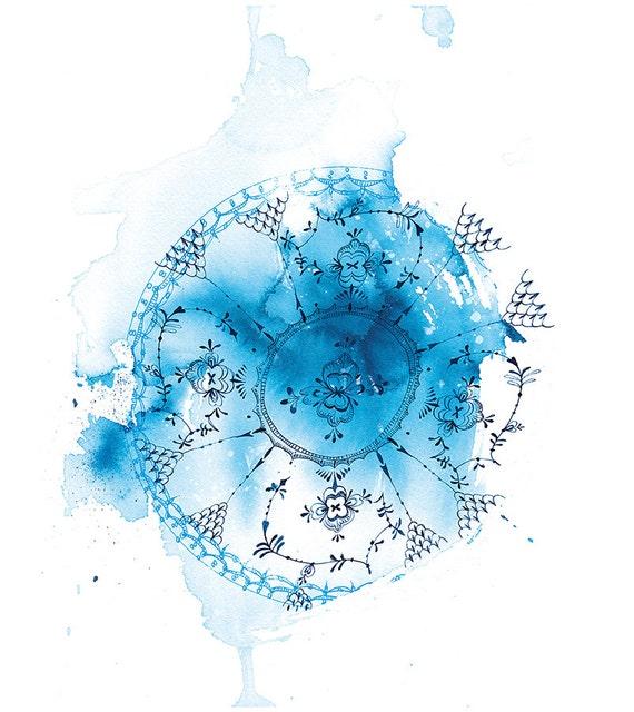 SALE Blue Plate Wash Archival Wall Art Print watercolour illustration