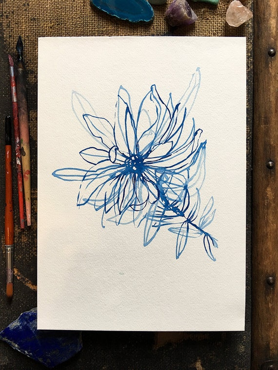 Original watercolor and ink painting on paper Blue Wash Flower artwork by Paula Mills