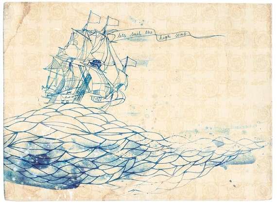 High Seas Wall Art Print - ship ink illustration
