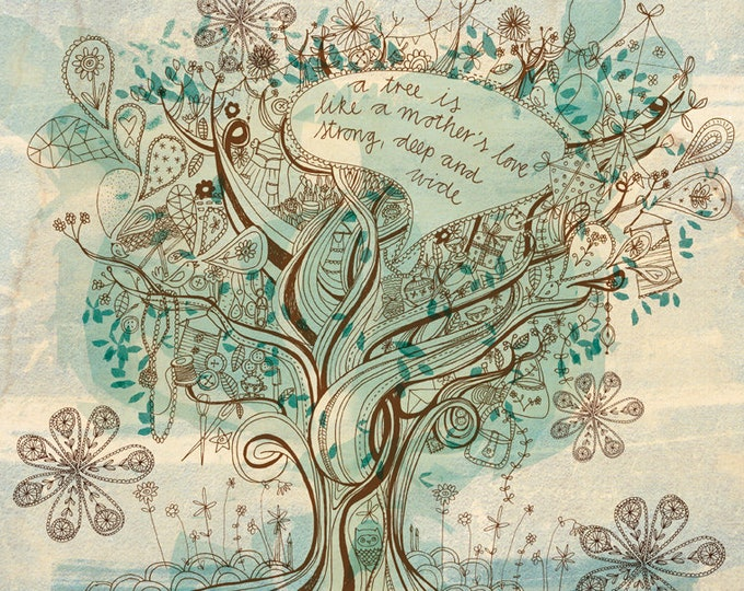 Mother's love - Digital Download Paula Mills Illustration Printable Wall Art decor