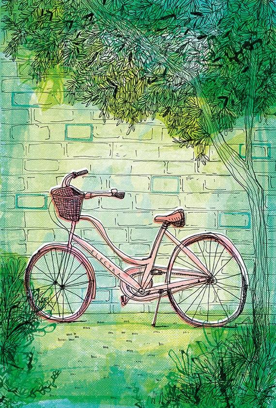 Happy Bike archival art print hand drawn bike illustration wall art