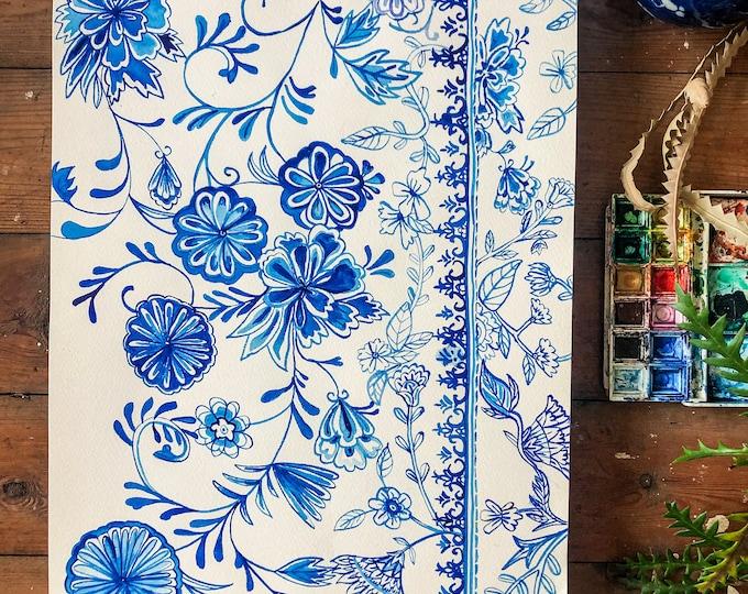 Tea Cup Pattern Original Watercolour Painting Botanical Wall Art