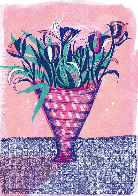 Tulip Vase archival Wall art print hand drawn floral illustration
