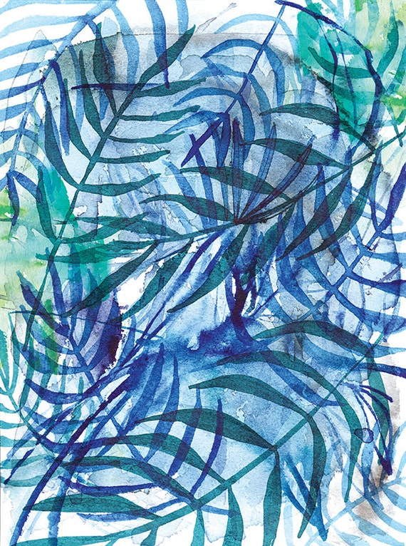 Nature In Blue No.3 Wall Art Print botanical watercolour illustration in blue ink