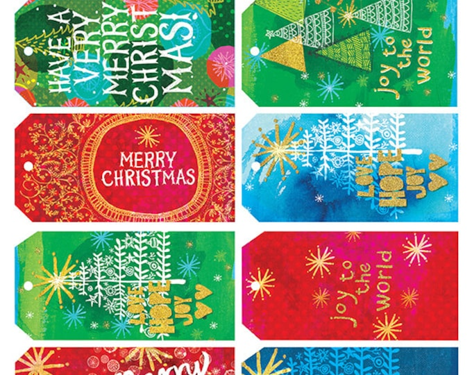 Christmas Gift 10 Tags - Digital Download tags, colourful, Christmas red, green, gold, junk journal, digital collage