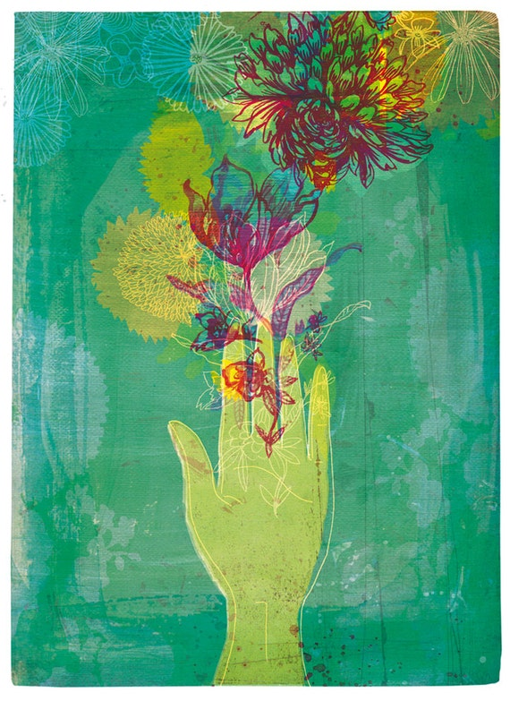 The Gift - Wall art print illustration floral hand