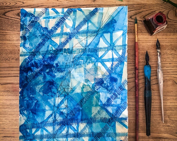 Original watercolour and ink painting on paper Blue Abstract Diamonds artwork by Paula Mills