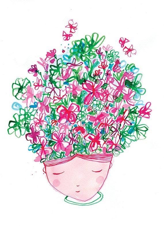 Sale Spring Flower Head Wall Art Print Kids Decor Etsy