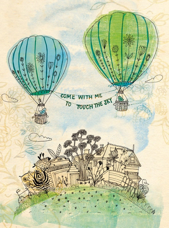 SALE Touch The Sky Green and Blue Wall art print kids decor