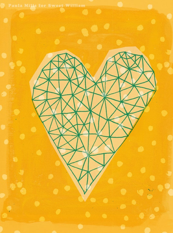 SALE  Geometric Heart in Yellow Archival Wall Art Print