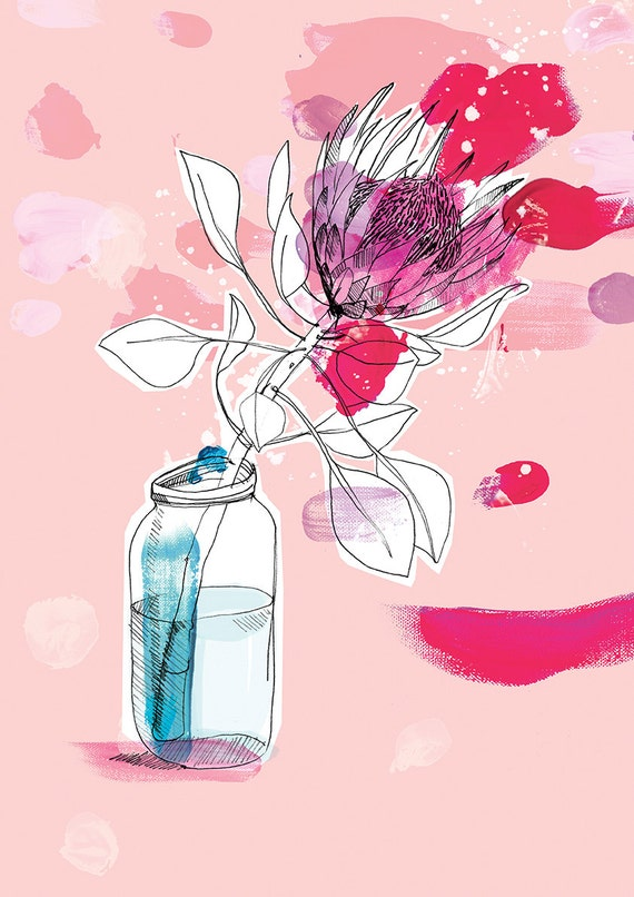 My Favourite Protea Wall Art Print botanical illustration