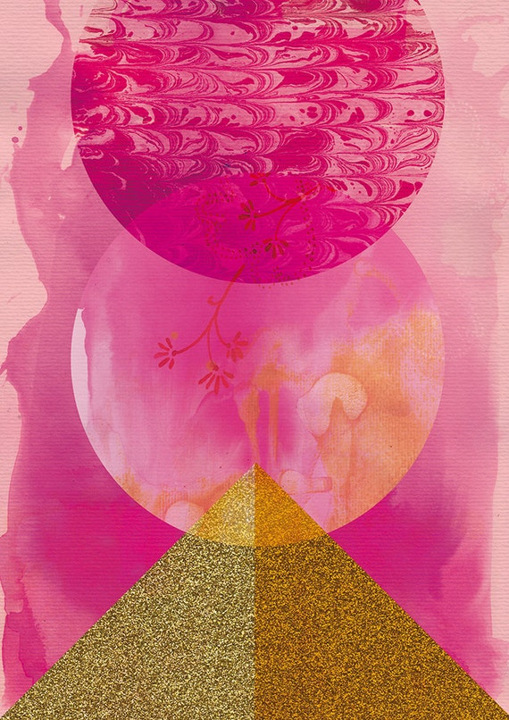 SALE Golden Pink Archival Wall Art Print - giclee, graphic, geometric - Small and Medium size