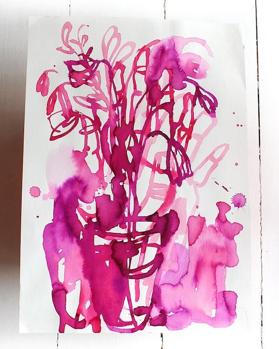 Original Watercolor artwork Magenta Flowers watercolour original