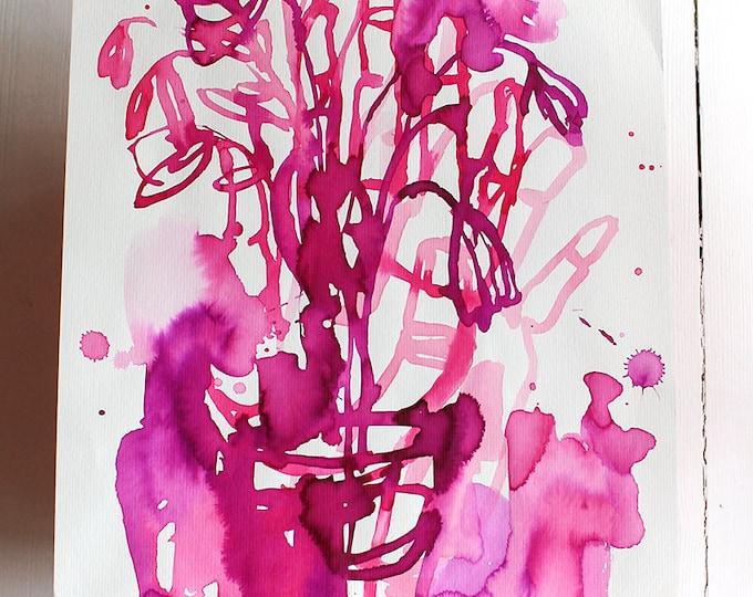 Original Watercolor artwork Magenta Flowers watercolour original painting by Paula Mills wall art