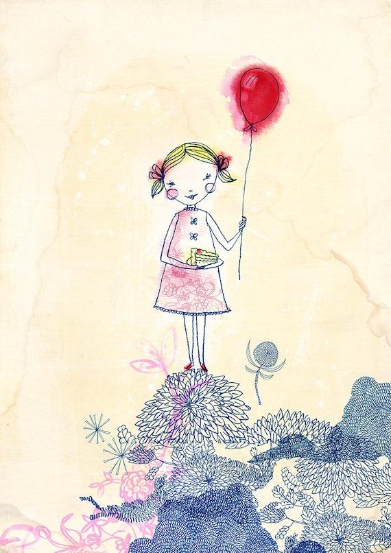 SALE Red Balloon Girl Archival Wall Art print Kids Decor Childrens Room Art