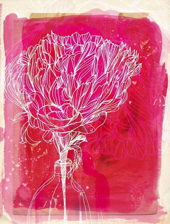 SALE Peony Archival Wall Art print Botanical illustration