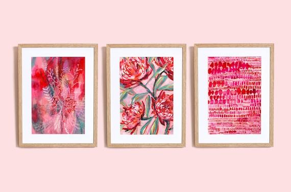 Set of 3 Pink and Red wall Art Prints  botanical illustration