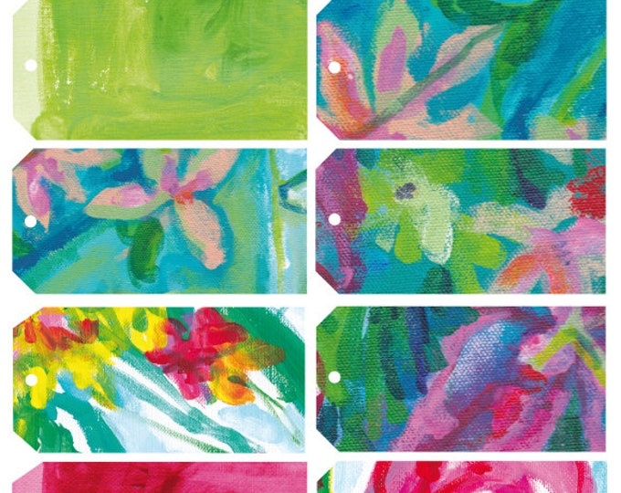 Bright Floral Painterly Tags, Digital Download Set of 10  illustrative tags, birthday, wedding favour, junk journal, digital collage