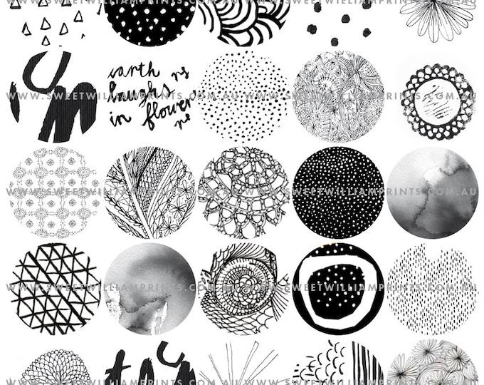 DIY PRINTABLE black and white graphics, 1.5 inch circles, digital download, digital scrapbook, junk journal, digital collage
