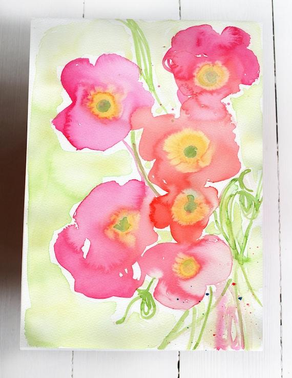 Original Watercolor artwork Pink Poppies No.2