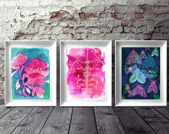 Set of 3 Wall art prints Floral Moths archival art print hand drawn illustration