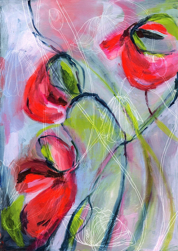 Swaying Poppies  Archival Wall Art Print Botanical illustration