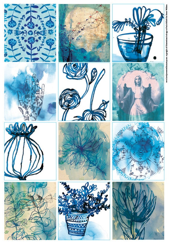 Blue Wash Tags - Digital Download Set of 12 Sweet William illustrative tags