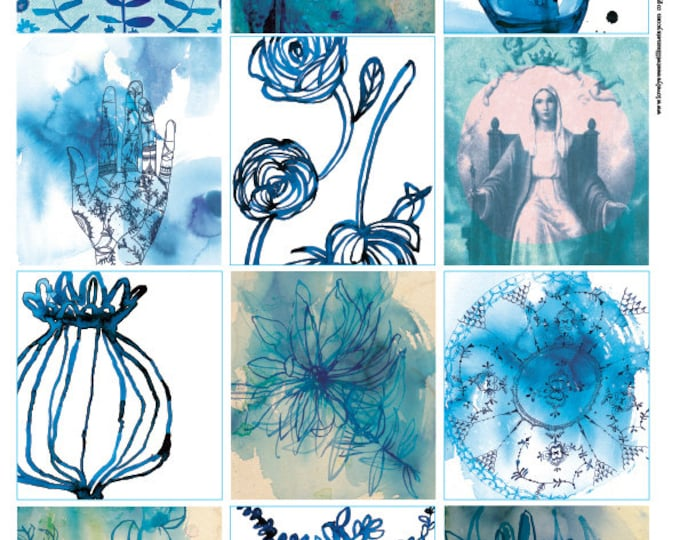 Blue Wash Tags, Instant Digital Download 12 gift tags for gifts, journalling, DIY craft projects, junk journal, collage