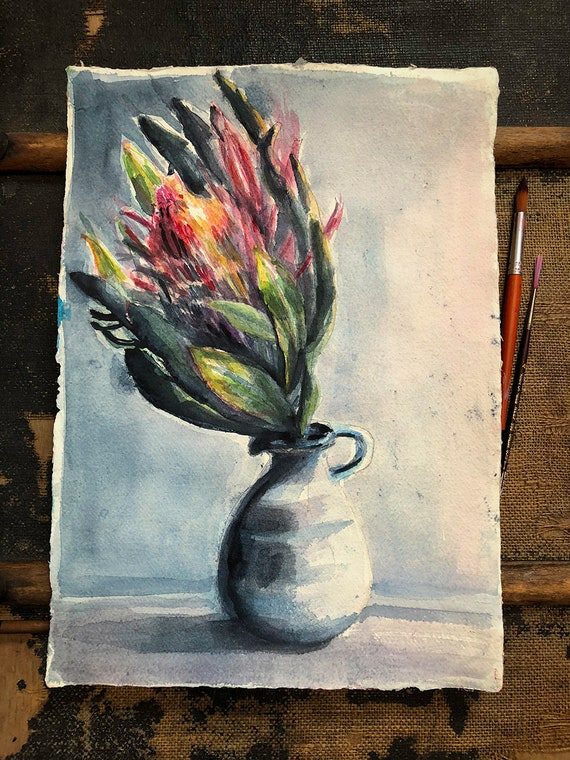 Original watercolour painting on paper Protea Still Life artwork by Paula Mills wall art