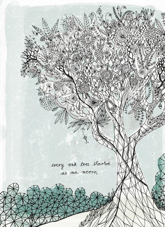 Oak Tree Archival Wall Art Print Illustration