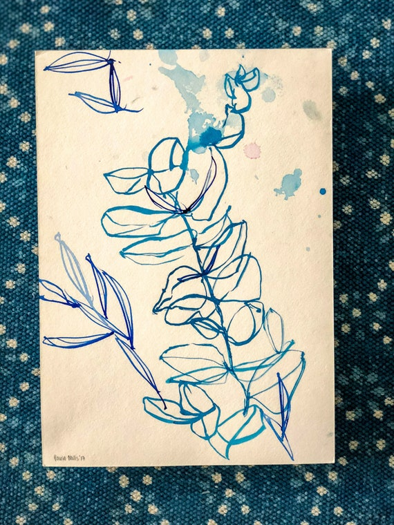 Original watercolor and ink painting on paper Blue Wash Leaf artwork by Paula Mills