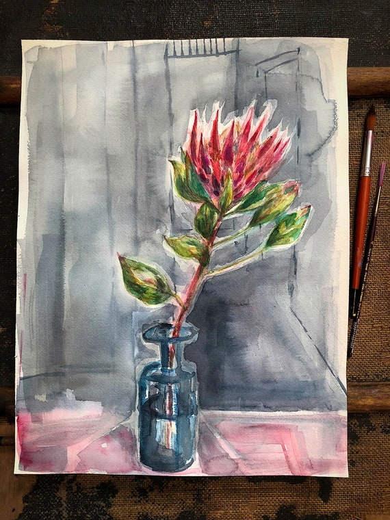 Original watercolour painting on paper King Protea In Blue Bottle artwork by Paula Mills wall art
