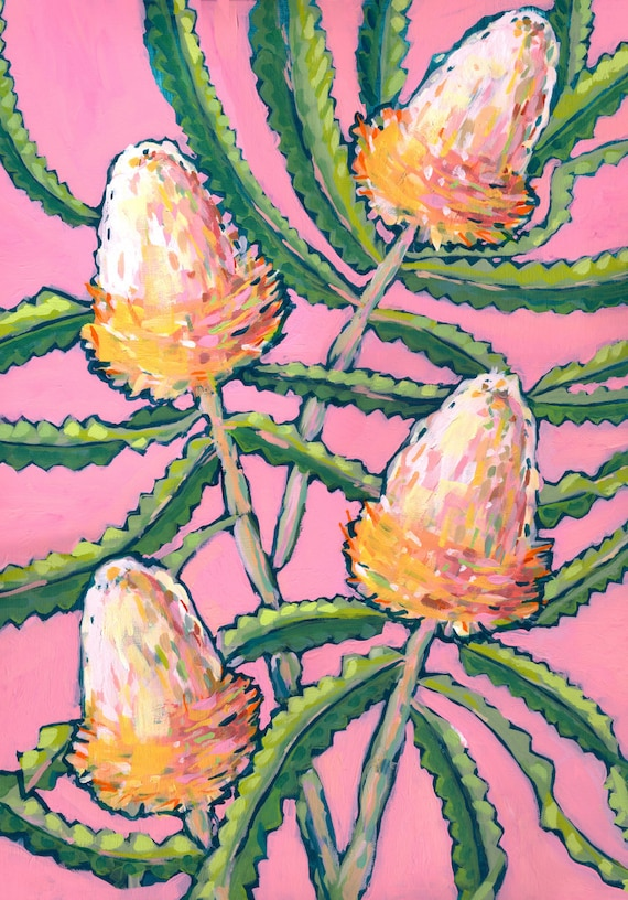 Pink Banksia Painting Wall Art Print Botanical Home Decor