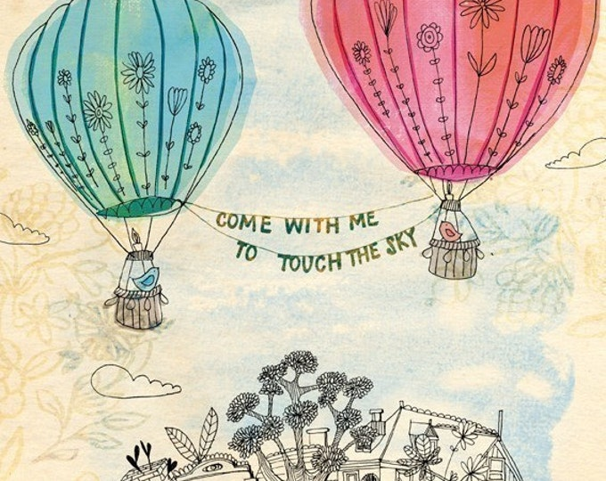 Touch The Sky Wall Art Print -  Instant download DIY printing illustration kids decor pink and blue hot air balloons