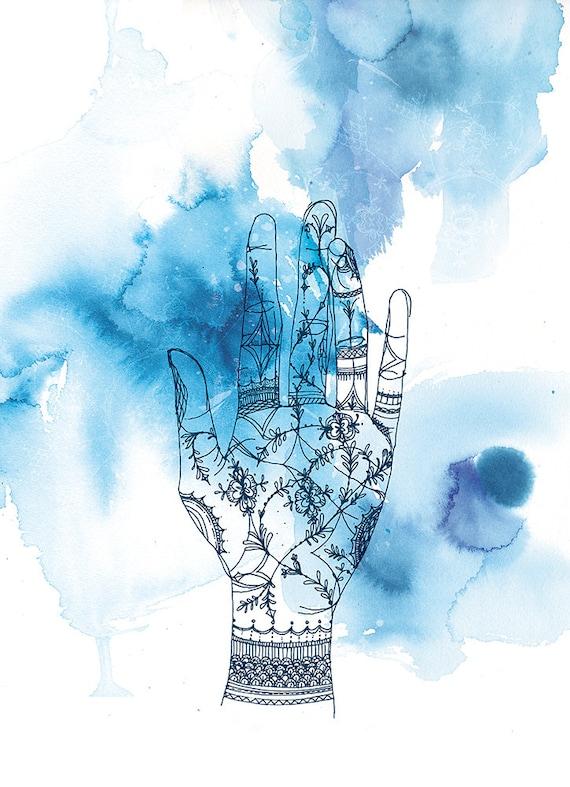 Blue Wash Hand Archival Wall Art Print blue ink