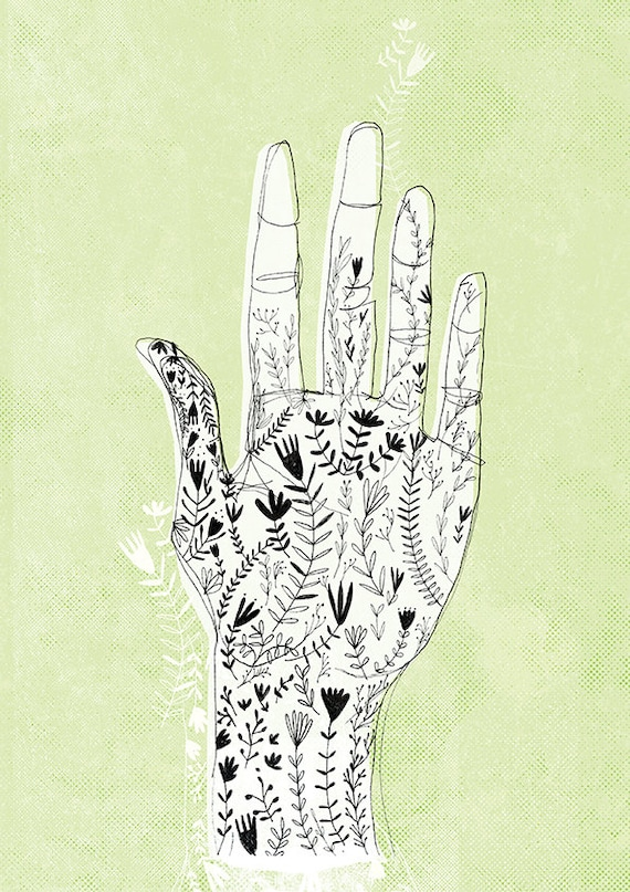 Floral Hand Archival Wall Art Print
