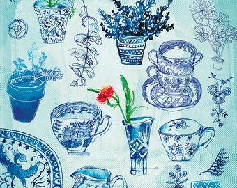 My Blue Collection archival Wall Art Print hand drawn ink illustration