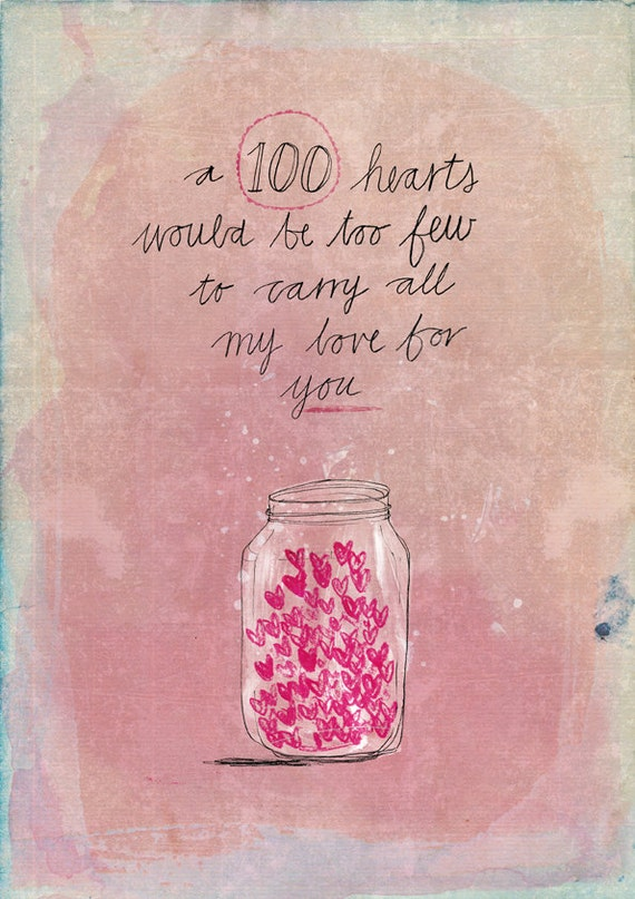 100 hearts archival wall art print kids decor