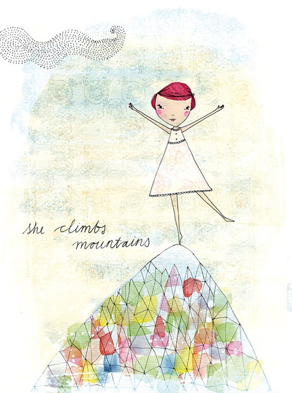 SALE She Climbs Mountains Archival Wall Art Print kids decor