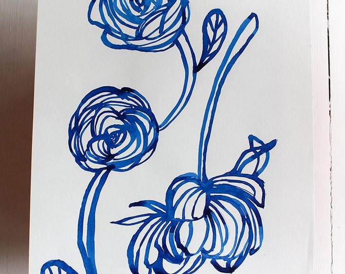 Original Watercolor artwork Inky Blue Rose watercolour original by Paula Mills Unique Wall Art