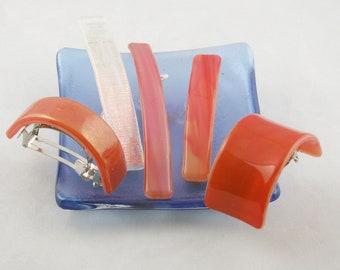 """Coral or Orange barrette - fused glass barrette - Ponytail - genuine French barrette - 3-4"""" barrette - (3322-3659-3871-4999-5100)"""