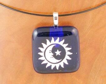 Sun - Moon - & Star dichroic fused glass pendant - dichroic glass jewelry  (2386)
